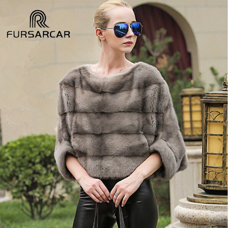 FURSARCAR Luxury Woman's Real Mink Fur Coats Genuine Fur Poncho Shawl Natural Winter Female Jacket Full Pelt Cape for Women