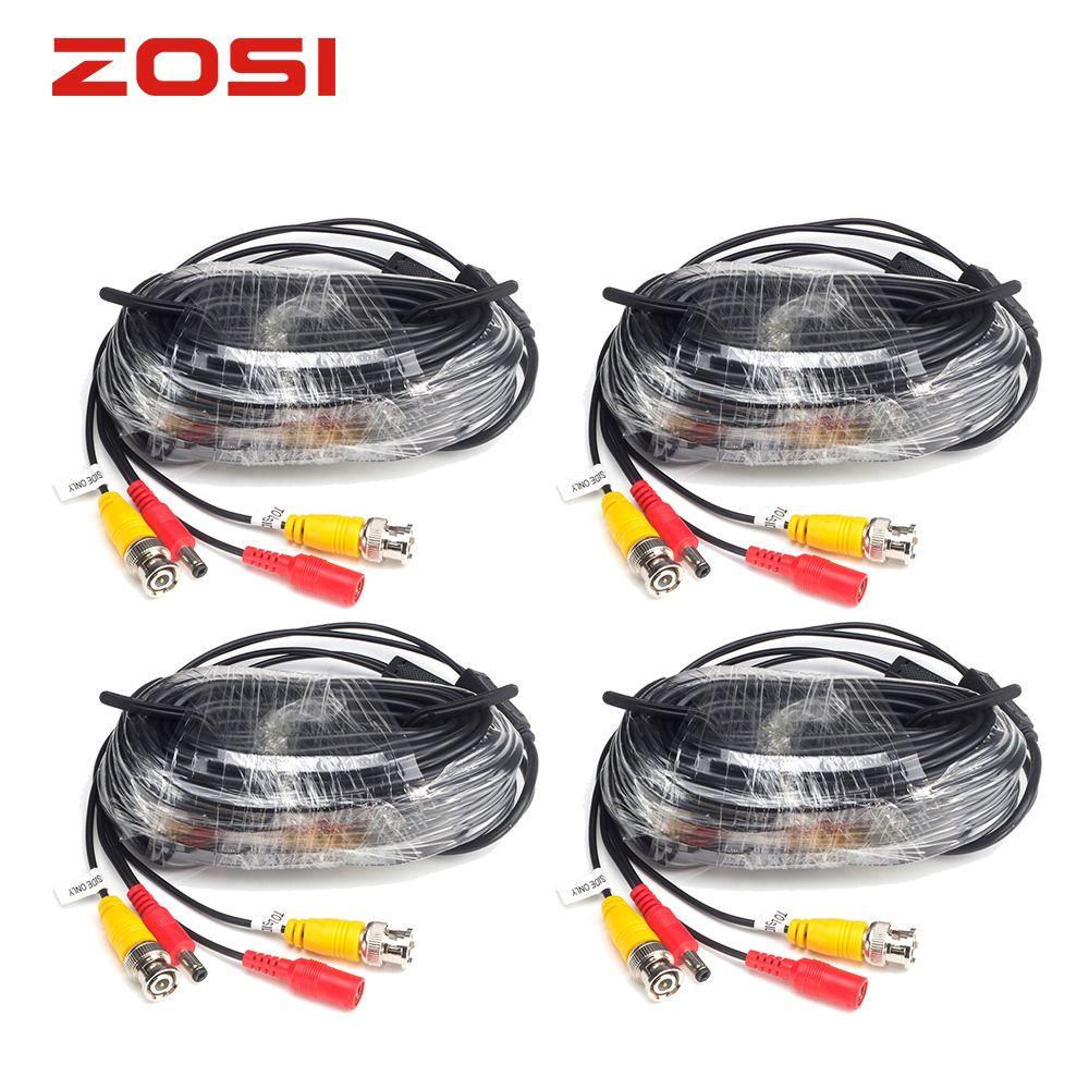 ZOSI 4 упакованы 18.3 м CCTV Мощность видео BNC + DC штекер кабеля для видеонаблюдения Камера и DVR системы коаксиальный кабель черный Цвет