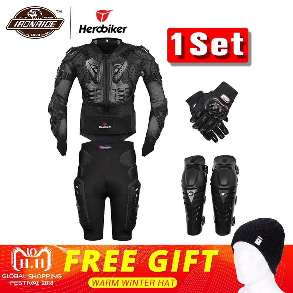 New Moto Motocross Racing Motorcycle Body Armor Protective Gear Motorcycle Jacket+Shorts <font><b>Pants</b></font>+Protection Knee Pads+Gloves Guard