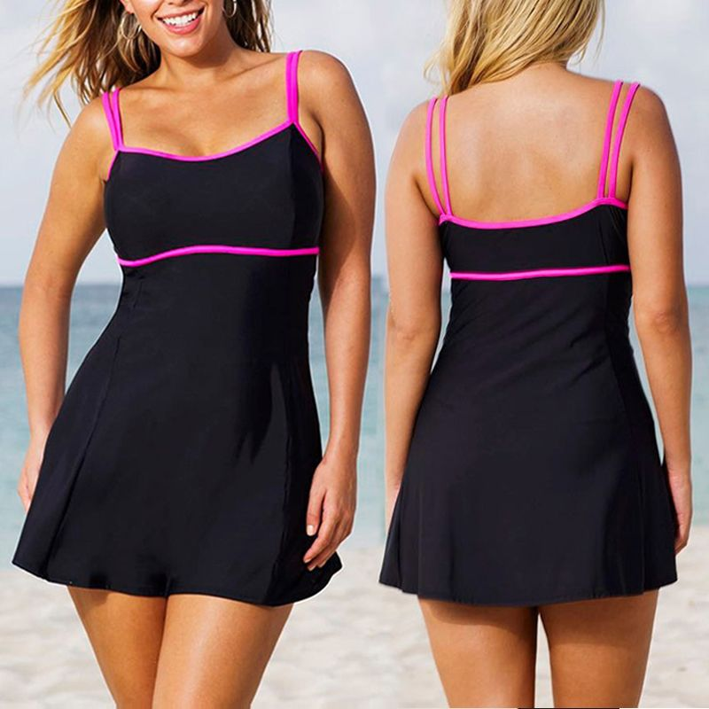 Hot Sexy 5XL femmes maillots de bain grandes tailles rembourré Bikini ensemble 2 pièces grande taille maillots de bain jupe natation nage costumes à pois