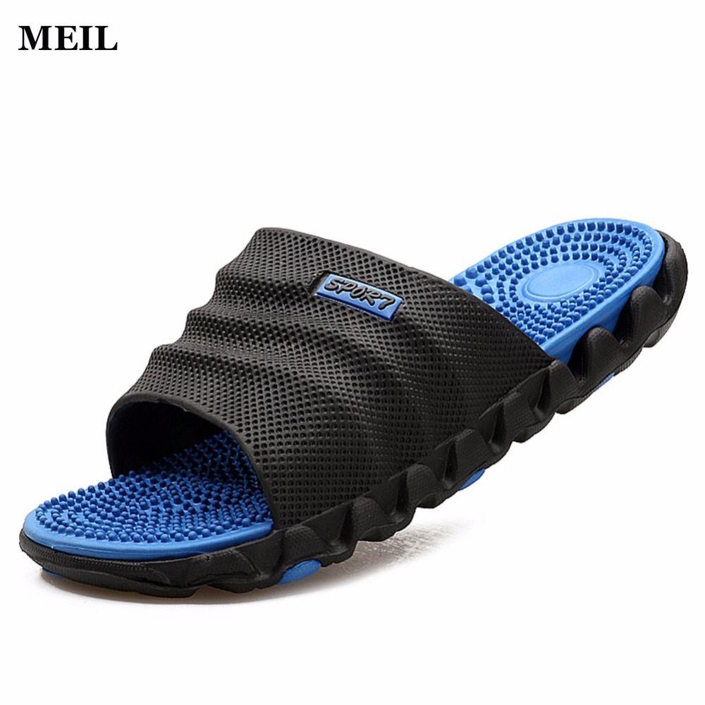 2017 été pantoufles hommes sandales décontractées loisirs doux diapositives IVI en plastique intérieur Acupoint Massage pantoufles pour hommes