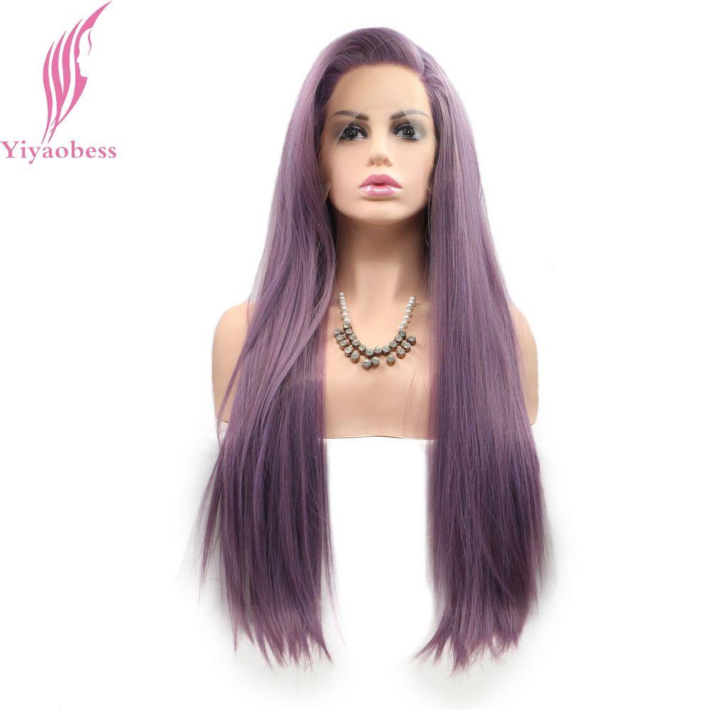 Yiyaobess blanc rouge violet Orange gris brun noir droit dentelle avant perruque synthétique 180 densité sans colle cheveux perruques pour les femmes