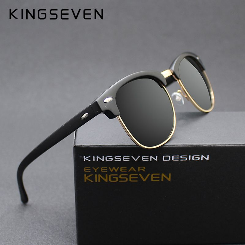 KINGSEVEN 2016 New Polarized Sunglasses Men/Women Retro Rivet High Quality Polaroid <font><b>Lens</b></font> Brand Design Sun Glasses Female Oculos