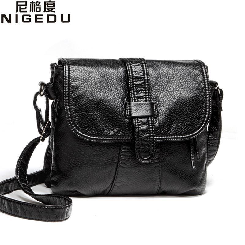 En cuir souple Femmes Messenger sac à bandoulière pour femmes décontracté sac À Bandoulière femme sac à main Noir bolsa feminina fille sac