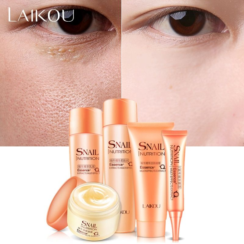 Snail Repair Skin Care Set Pack of 5Foam Cleanser Moisturizing Cream Facial Cleanser+Toner+Lotion+Eye Cream Anti Aging Whitening