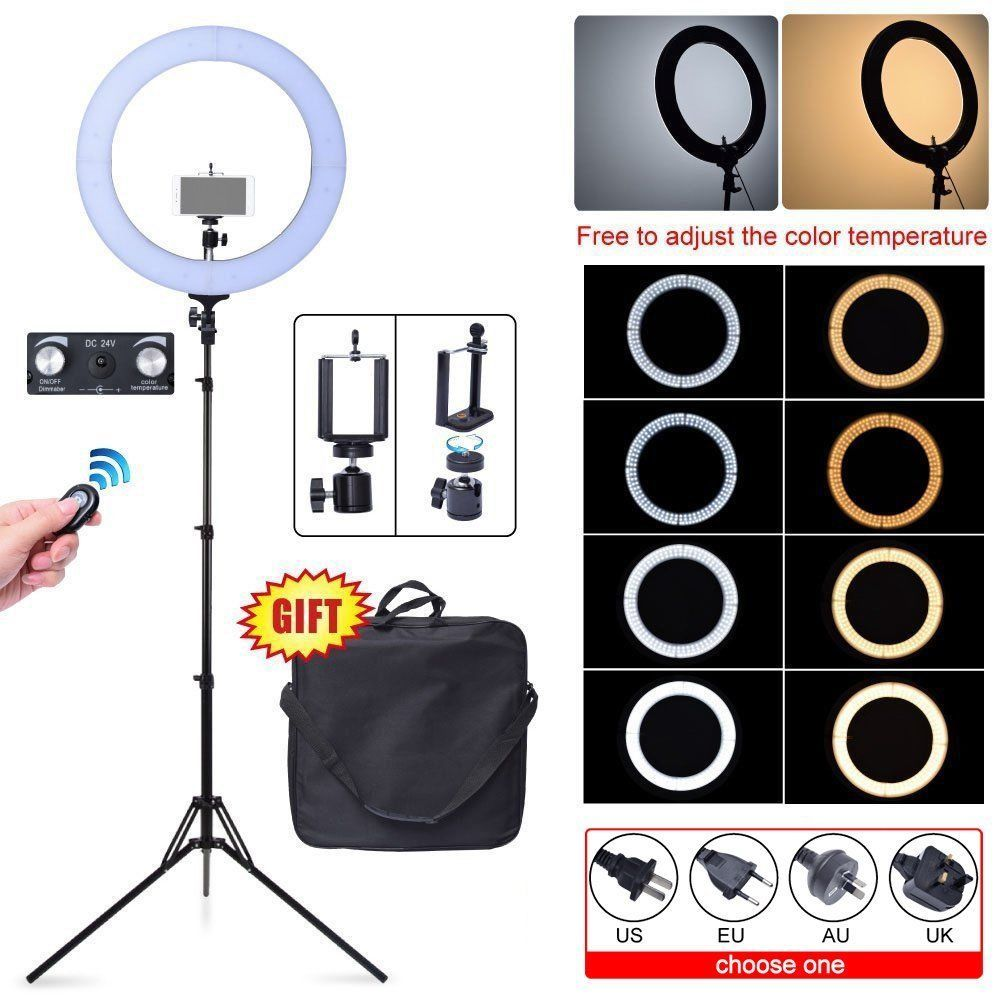 Fotoconic 80W 48cm 2700K~5500K 448 LED Dimmable Ring Light + Camera Phone Holder + Stand Kit for Photography Video Photo Selfie