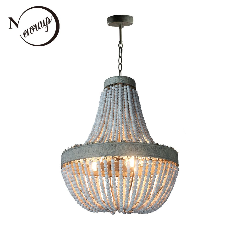 Retro Antique loft vintage rustic round wooden beads pendant lamp E27 lamps lights with led for living room hotel bar cafe shop