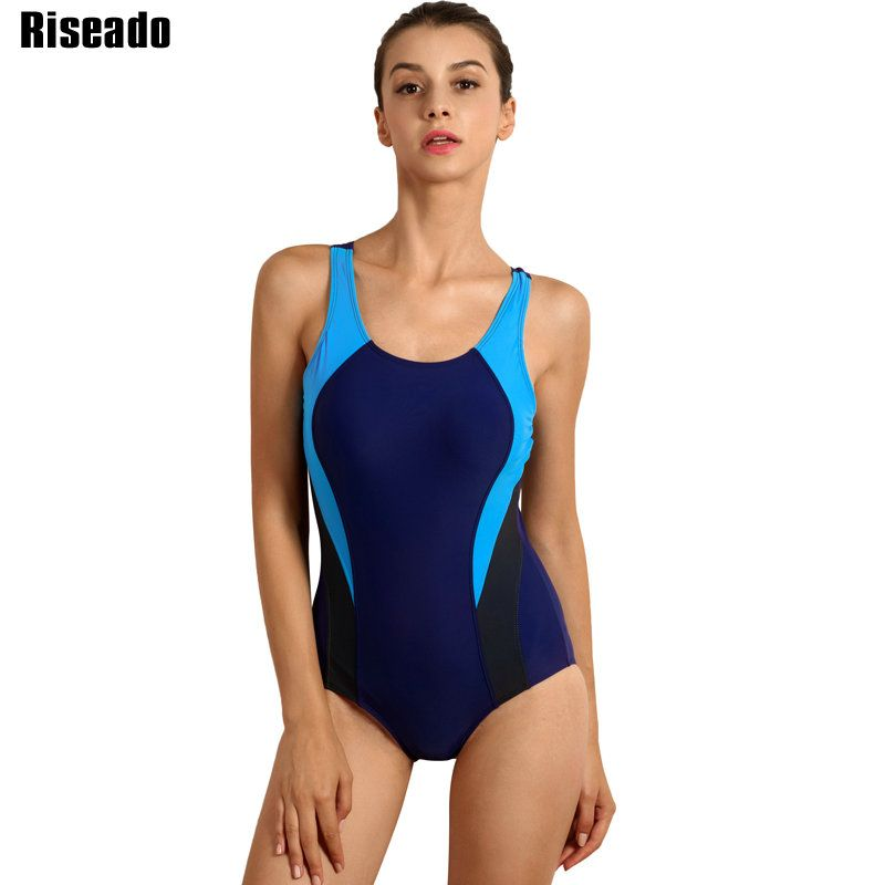 Riseado New 2018 Sport One Piece Swimsuit Competitive Swimwear Women Women's Swimming Suits Patchwork Bathing Suits
