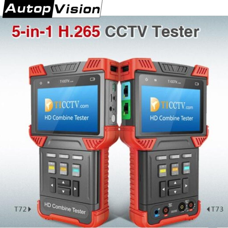 Neueste 5-in-1 H.265/H.264 CCTV Tester Monitor DT-T72/T73 IP Kamera Tester Unterstützung Analog CVI TVI AHD/ONVIF/Digital-Multimeter