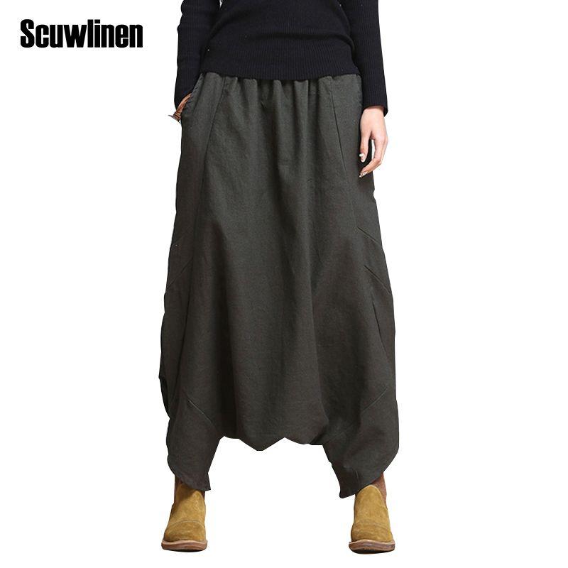 SCUWLINEN 2018 Casual Linen Pants Brand Style Loose Harem Pants Plus Size Elastic Waist Women's Pants Trousers for Women S10