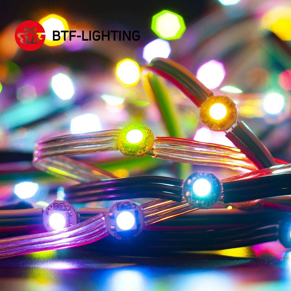 50 LED s/string WS2812B Module de LED pré-soudé 6 mètres nœuds 5V adressables individuellement panneau 5050 SMD RGB avec panneau de radiateur