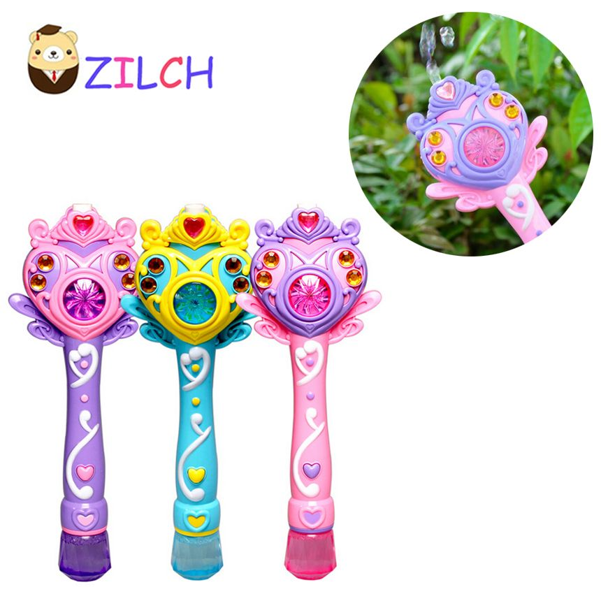 2018 Hot Fully-automatic bubble machine magic wand bubble gun toy bubble with music and light children party birthday gift