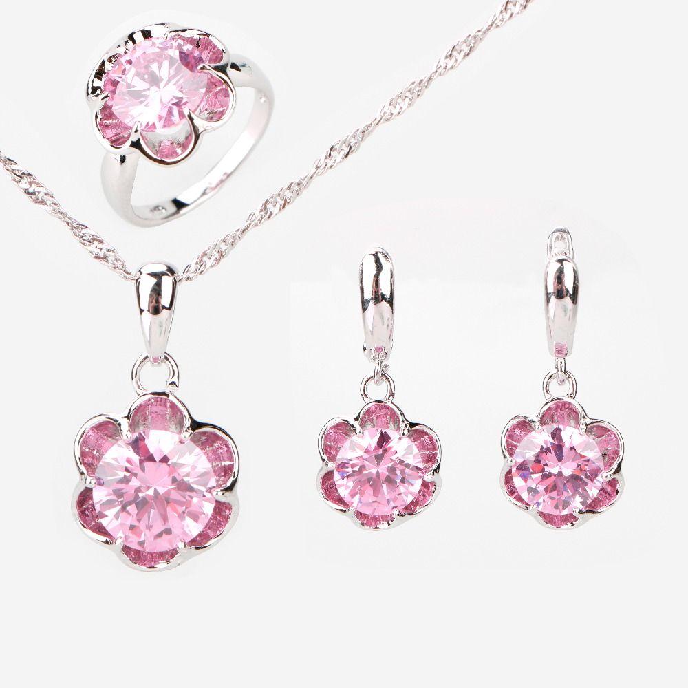Flor Redonda Superior AAA + Pink Cubic Zirconia 925 Anillos de Plata de La Joyería Para Las Mujeres Pendientes Collar Colgante