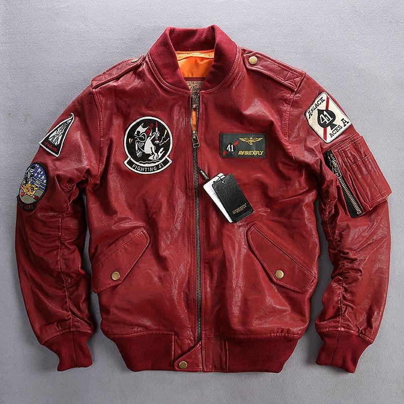 2019 marke Echtem Leder Jacken Männer der 100% Ziege Haut Multi-kennzeichnung Stickerei Pilot Oansatz Kragen Bomber Motorrad Jacken
