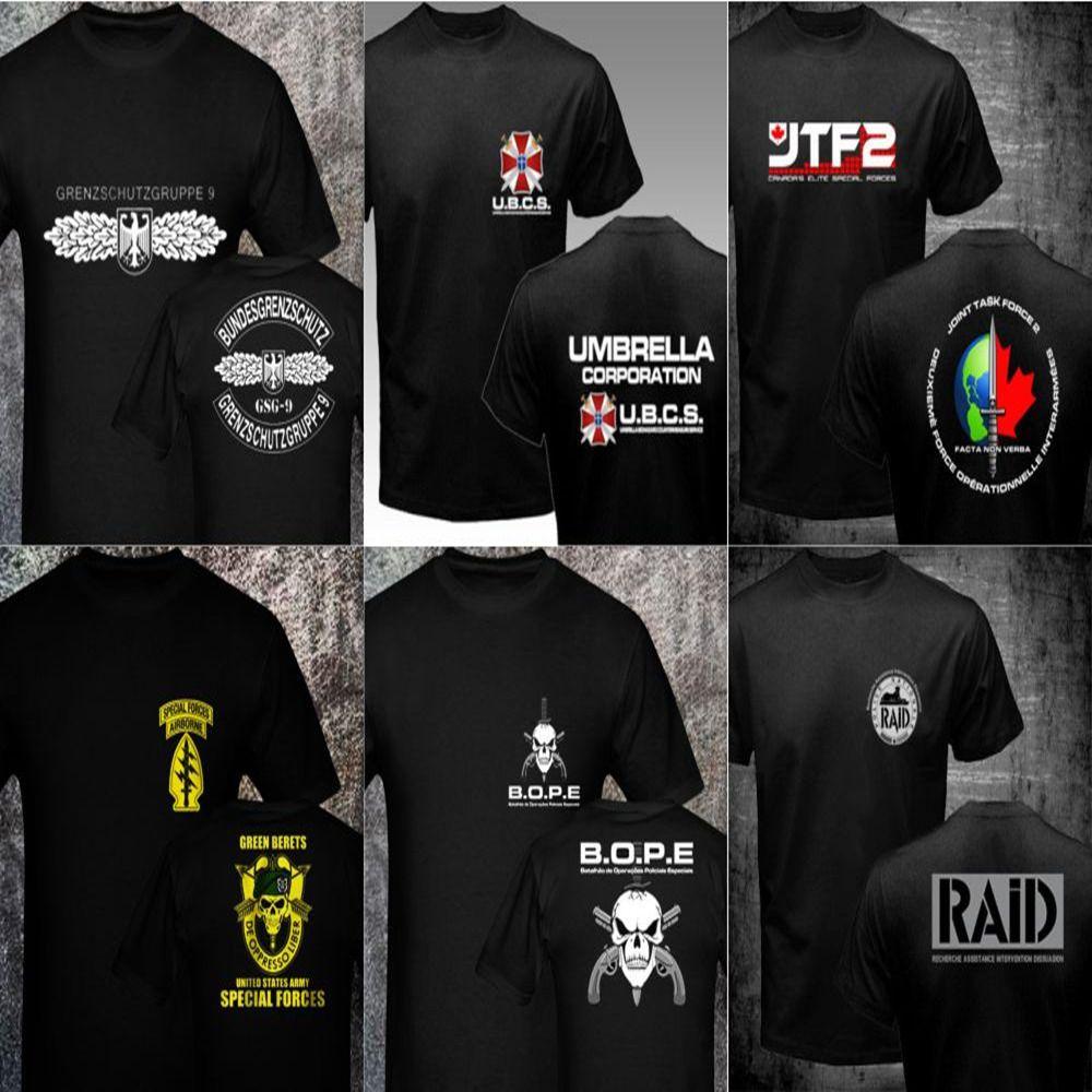 GSG 9 BOPE Sniper Green Beret GIGN Raid BRI JTF2 SAS SBS Forsvarets FSK MJK JGSDF Army Special Forces Men's T shirts