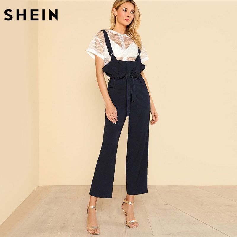 SHEIN Jumpsuits for Women 2018 Sleeveless Pocket Front D-Ring Strap Overalls Solid Navy Mid Waist Belted Overalls