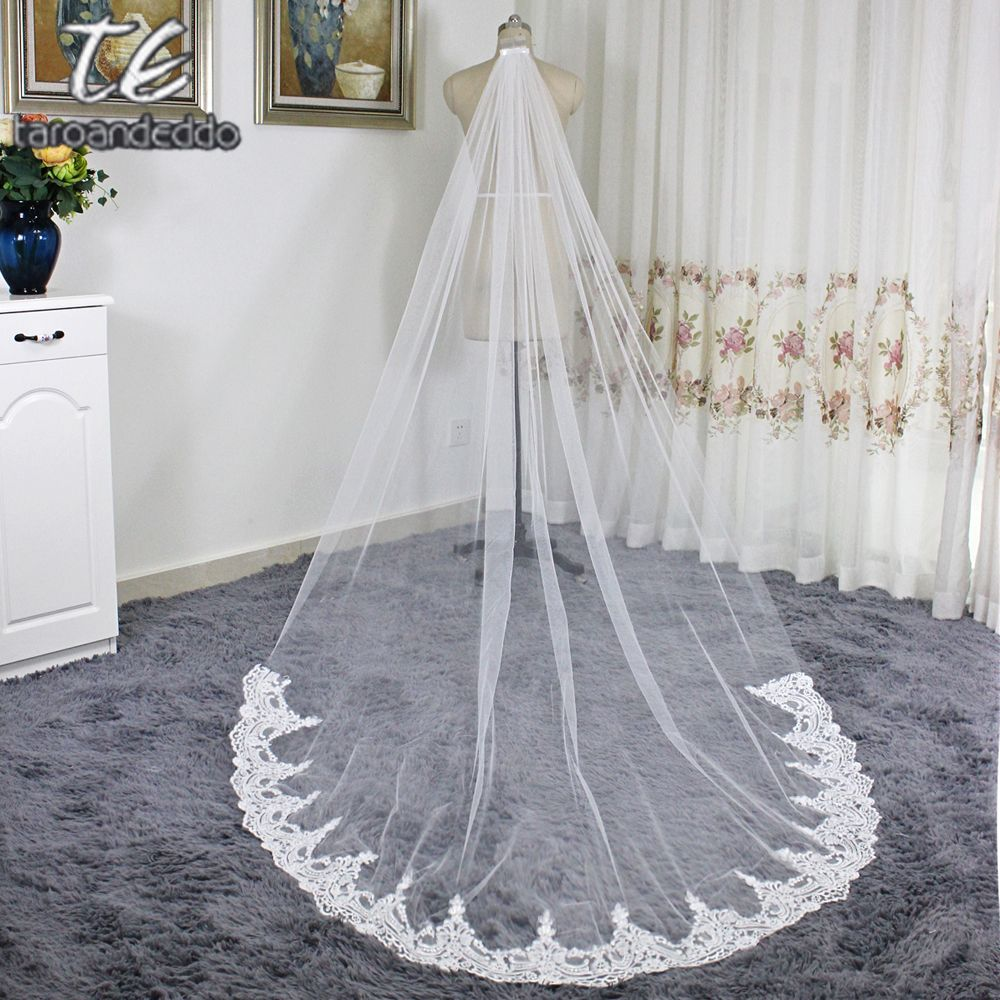 Cathedral Length Applique Lace Real Lace Wedding Veils with Comb One Layer Lace White/Ivory Bridal Accessories Veil