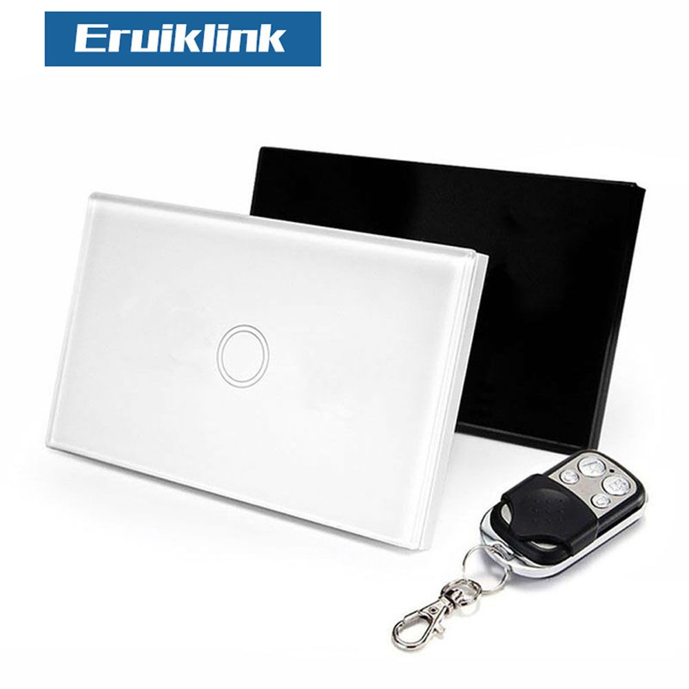 Norme américaine Eruiklink 1 Gang 1 commutateur de télécommande, RF433 commutateur mural intelligent, commutateur de lumière tactile de télécommande sans fil