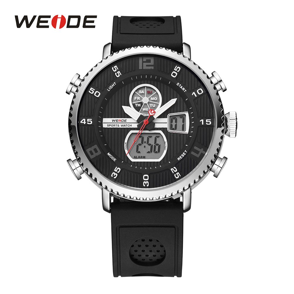 WEIDE Mens Chronograph Analog Digital LCD Auto Date Backlight Stopwatch Quartz Sport Wristwatch Day Black Band Buckle For Man