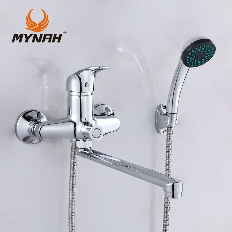 Mynah Rusia envío gratis Bañeras grifo ducha grifos Bañeras ducha mezclador sistema tropical ducha rack con cobre