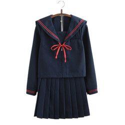 Военно-морской флот японская школьная форма для девочек с длинным рукавом Демисезонный в морском стиле топы плиссированная юбка комплекты ...