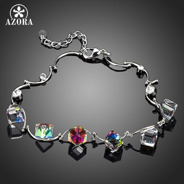 AZORA 6 pcs changement Progressif Couleur Cube Stellux Cristal Autrichien Charme Bracelet TS0044