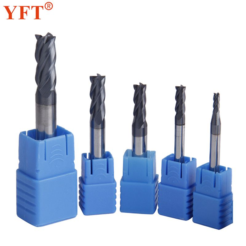 YFT 5pcs/set Tungsten Carbide Milling Cutter 3/4/5/6/8mm 4-Flute End Mills CNC Router Bit For Cutting Metal Tools