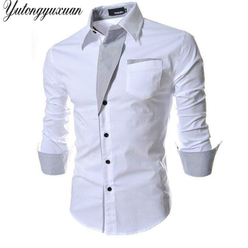 2017 Top Fashion Full Solid Tuxedo Shirts Top Sale Mens Stylish Casual Shirt Spring Men Long Sleeve Slim Fit Male Wedding Tops