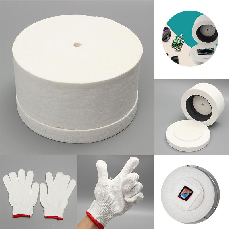 Mayitr Microwave Kiln with 1 Pair White Cotton Gloves & 10pcs Backing Papers Set for DIY Glass Jewelry