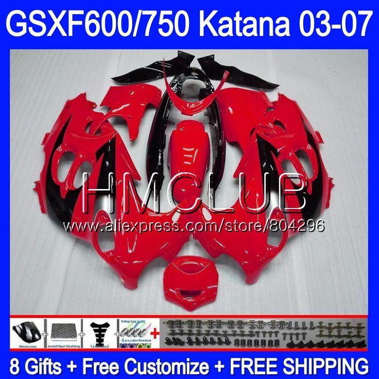 Bodys For SUZUKI KATANA GSXF600 2003 2004 2005 2006 2007 8HM.25 Red black GSX600F GSXF 600 750 GSXF750 03 04 05 06 07 Fairing