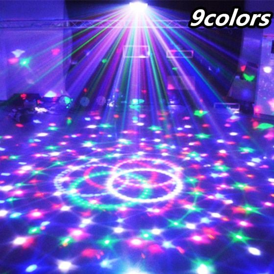TRANSCTEGO 9 Colors 27W Crystal Magic Ball Led Stage Lamp 21 Mode <font><b>Disco</b></font> Laser Light Party Lights Sound Control DMX Lumiere Laser