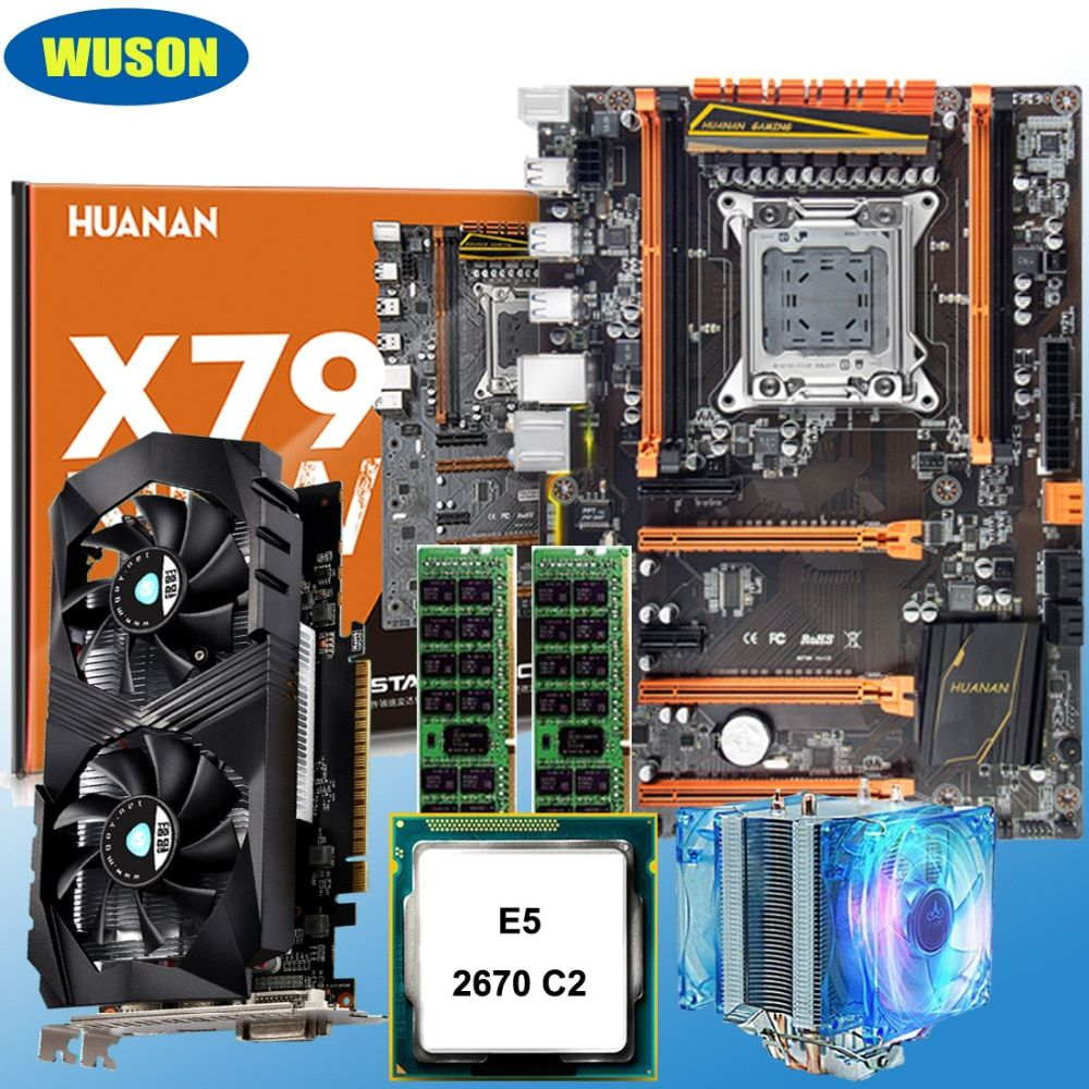 Building computer HUANAN deluxe X79 motherboard CPU Xeon E5 2670 C2 with cooler RAM 16G(2*8G) RECC GTX1050Ti 4G DDR5 video card