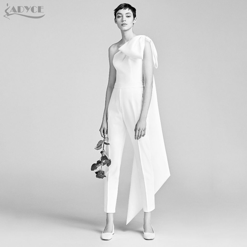 ADYCE 2018 New Women Celebrity Runway Jumpsuit Bow One Shoulder Half Batwing Sleeve Rompers Jumpsuit SexyWhite Bodycon Bodysuits