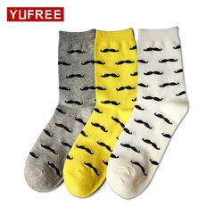 Yufree Men Socks Casual Pure Cotton Beard Pattern Tube Socks Men Fashion Solid Color Funny Happy Socks 2018 Hot Sale