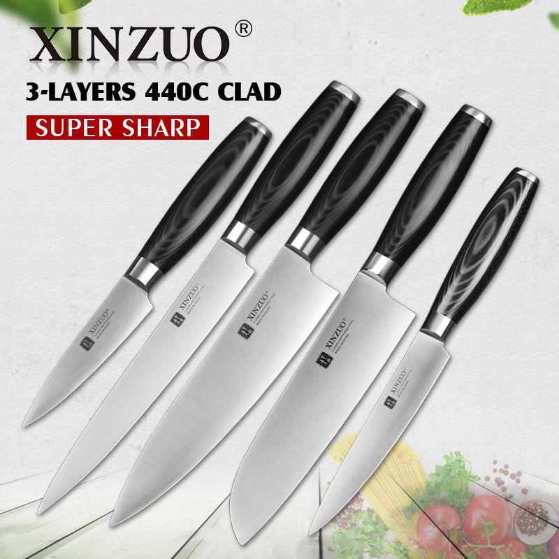 XINZUO Hot 5 stücke küchenmesser set schäl utility cleaver Chef messer 3 schichten 440C kupferkaschierte hoch carbon edelstahl Messer sets