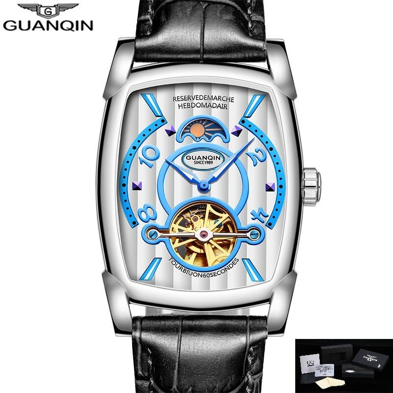 GUANQIN Watch Men Rectangle Mechanical Wristwatches Moon Phase Water Resistant Luminous Hands Clock Men 2018 montre homme