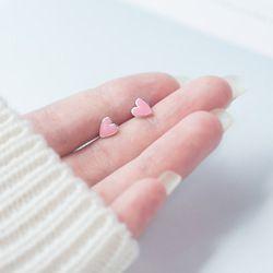 Симпатичные 7 мм * 6 мм 100% реальные. 925 пробы серебряные украшения Розовое эмалированное сердце Форма любовь серьги ювелирных изделий GTLE1627
