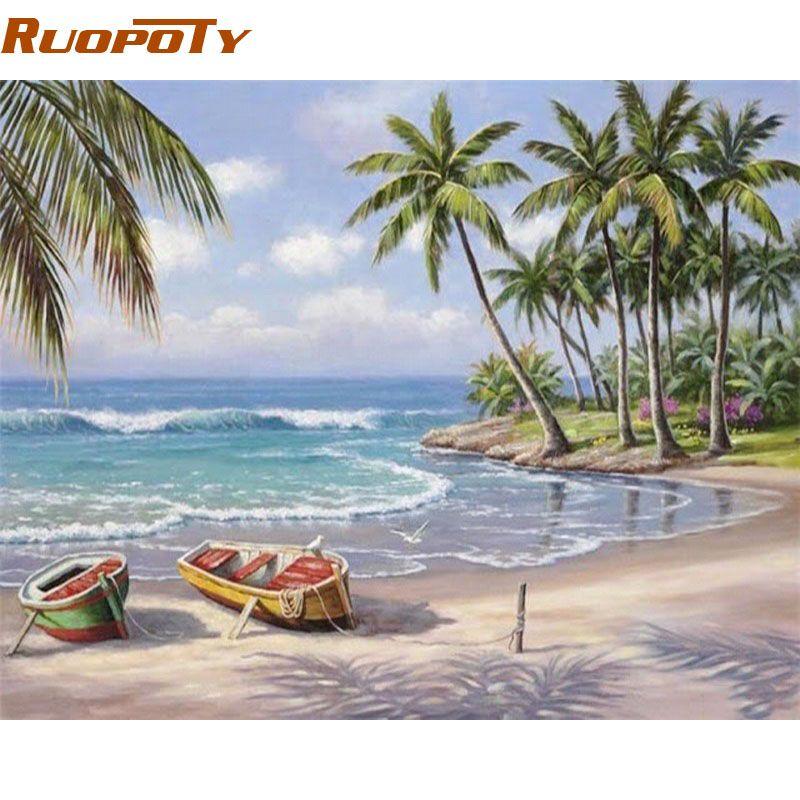 RUOPOTY paysage marin peinture à la main par numéros mur Art décor peint à la main moderne peinture à l'huile sur toile pour salon cadeau œuvre