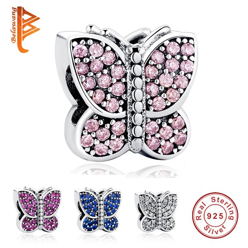Original 100% 925 argent Sterling breloques étincelant CZ Animal papillon perles ajustement Pandora Bracelet collier bijoux à bricoler soi-même faire