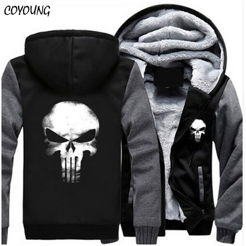 COYOUNG Brand US Plus SIZE 5XL Men Hoodies Punisher Skull Casual Hoody Thicken Fleece Coat Jacket Unisex Sweatershirts