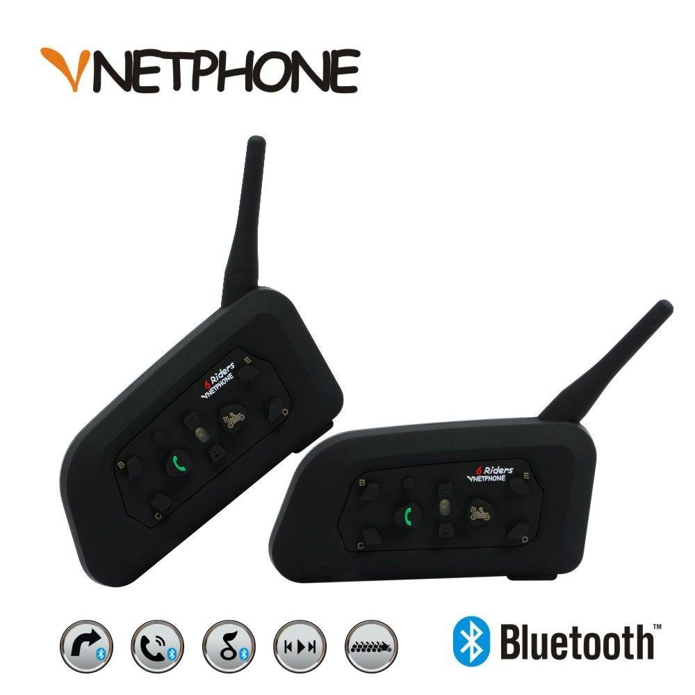 2017 New 2 X1200m Bluetooth Intercom Headset 6 Riders Handsfree V6 Waterproof Motorcycle Interphone Support Stereo Music/audio