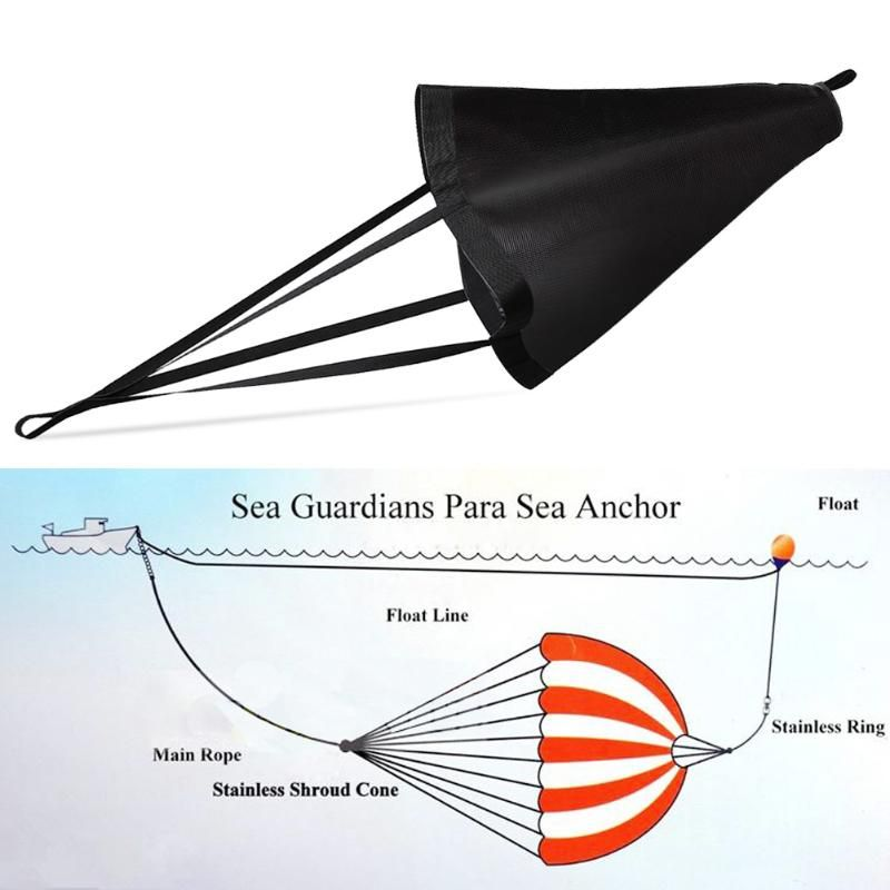 All Size Heavy Duty PVC Sea Anchor Trolling Drift Sock Sea Brake Drogue 17-30FT Power Sail Inflatable Boats Yacht Kayak Anchor