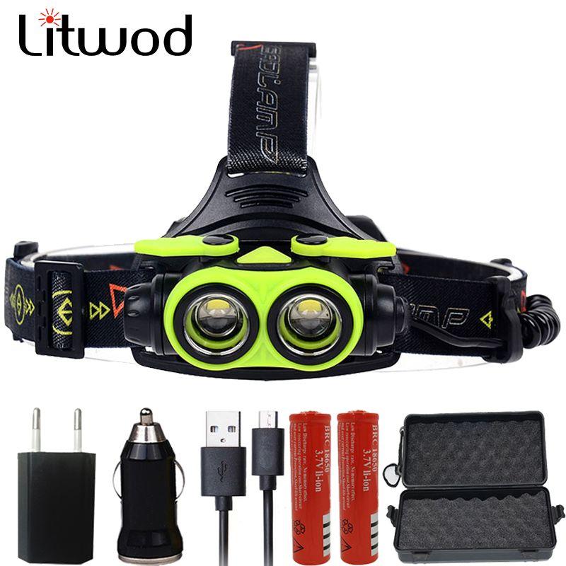 Litwod z307305A 8000LM Phare MENÉ XM-L2 4 Modes Rechargeable Phare Lampe Frontale Projecteur lumière 2*18650 Batterie