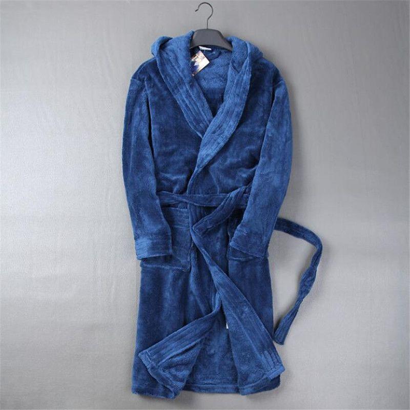 Automne Et D'hiver Flanelle Robe Épaississement Homewear Hommes Peignoirs Doux Chaud Hommes Salon de Vêtements De Nuit Peignoirs Mâle A5192
