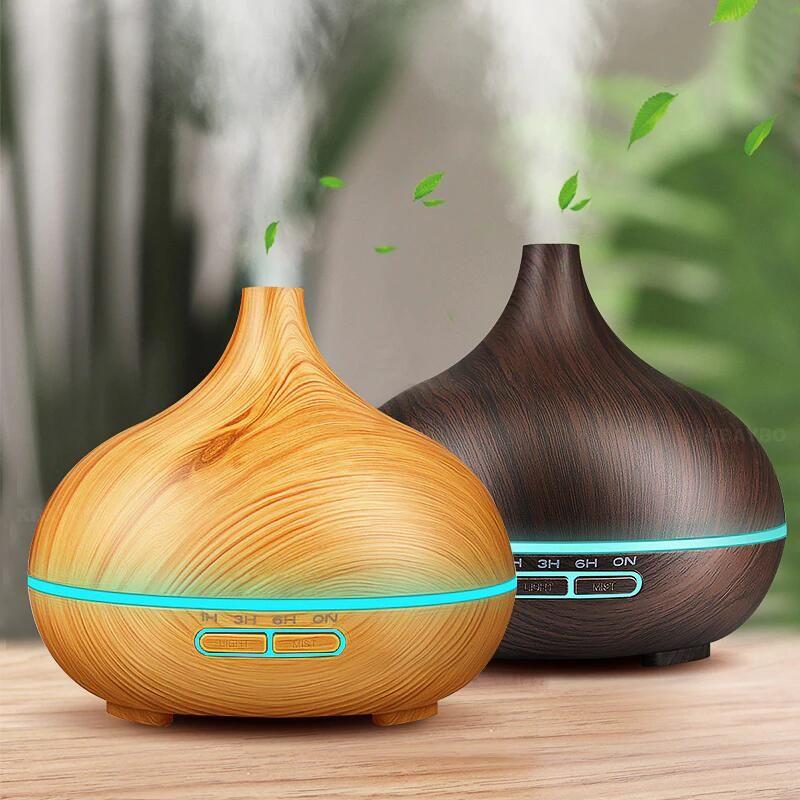 Arôme Huile Essentielle 300 ml Diffuseur À Ultrasons Humidificateur D'air avec Bois Grain 7 Changement de Couleur LED Lumières pour Home Office