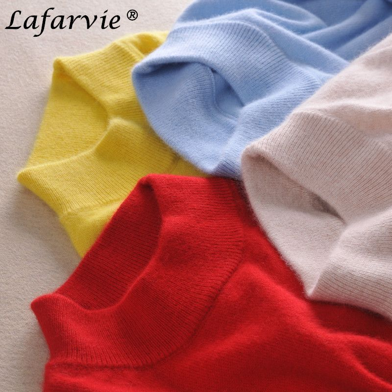 Lafarvie Fashion Cashmere Blended Knitted Sweater Women Tops Autumn Winter Turtleneck Pullovers Female Long Sleeve Solid Color