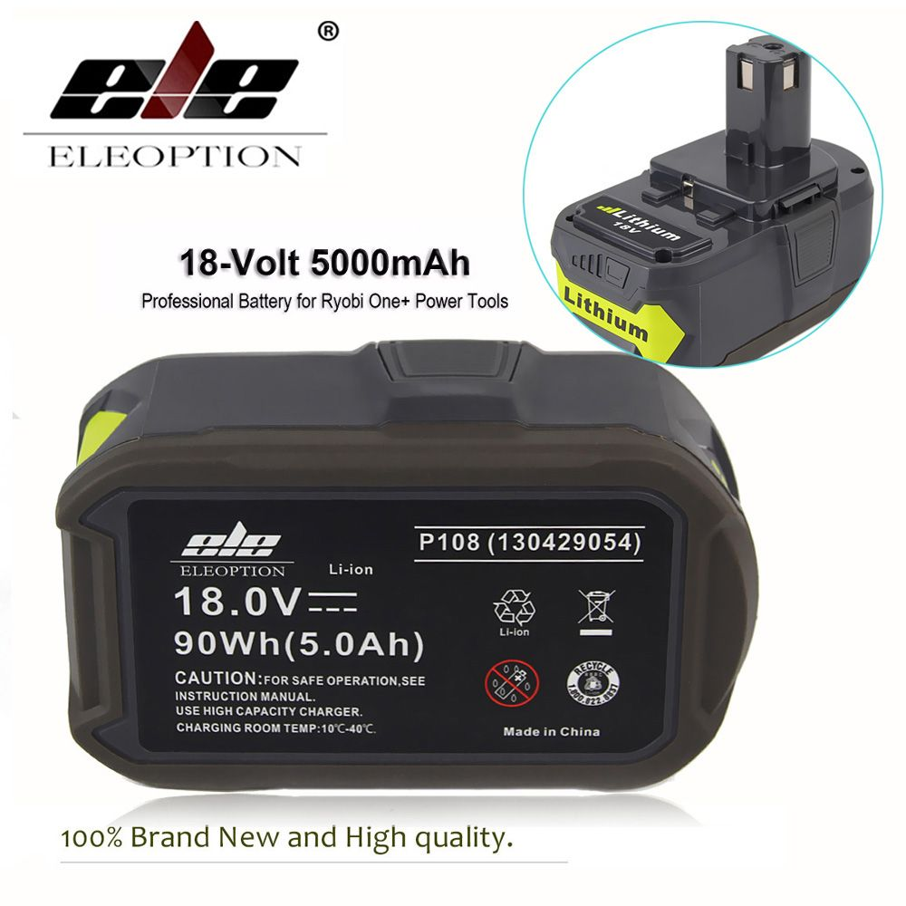 ELEOPTION High Capacity 5000mAh Li-Ion 18V Rechargeable Battery For Ryobi 18V Lithium Battery P108 RB18L40 P2000 for ONE+ BIW180