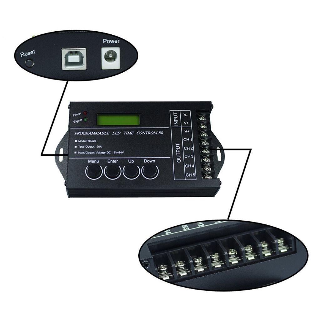 Livraison Gratuite RVB programmable Temps LED Controller Dimmer TC420 DC12V/24 V 5 5channel Sortie Totale 20A Anode Commune Programmable