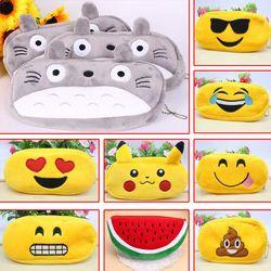 Kawaii de Bande Dessinée Stylo cas Totoro en peluche Sourire Visage Emoji Mignon Crayon cas D'école Minecraft etui trousse scolaire stylo 04819