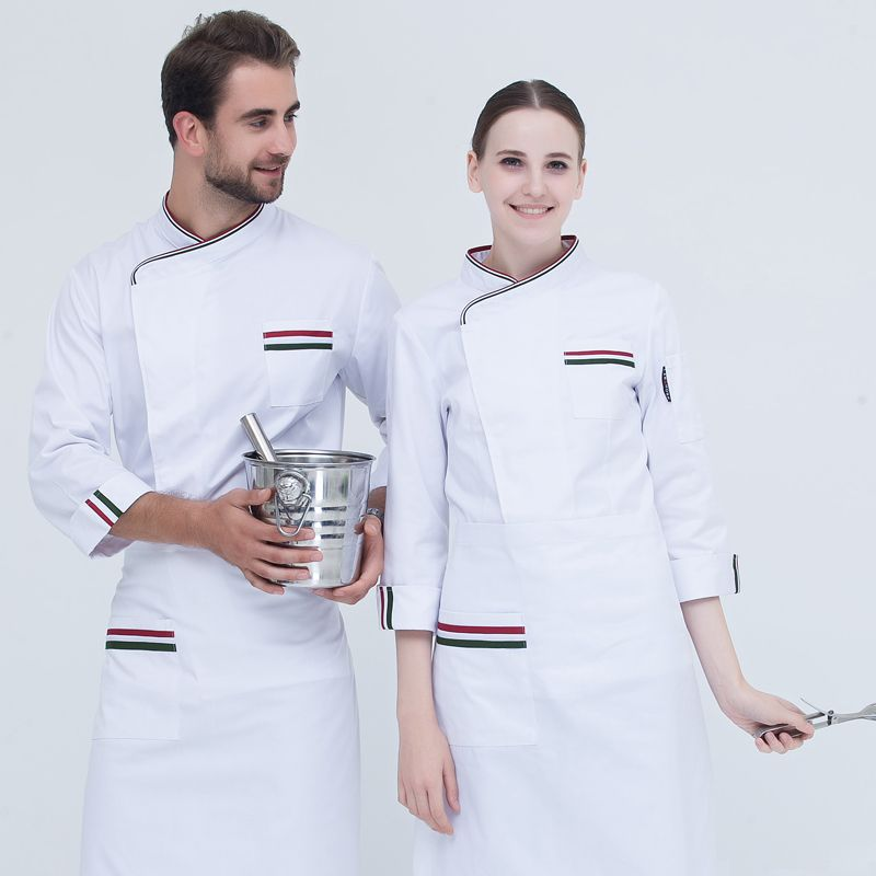 New Arrivals 2017 Latest Long Sleeve White Chef Coat Men and Women Striped Coffee Shop Work Clothing High Quality Cook Jacket